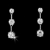 """Our Future"" Silver Cubic Zirconia CZ Earrings E 3516"