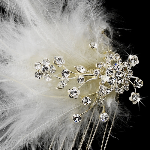 Feather Bridal Hair Accent Comb 1534