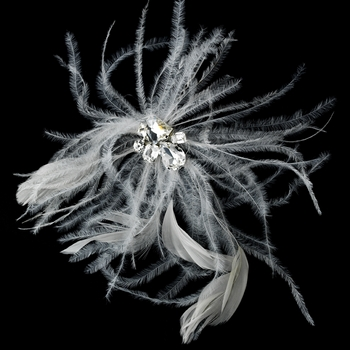 White Feather Fascinator Hair Pin with Rhinestone Cut Cluster Accent Pin 112