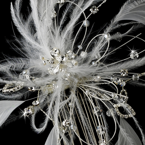 * White/Ivory Feather Fascinator Comb 1539