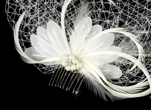 Dainty Pearl & Feather Flower Fascinator & Cage Veil Clip in White