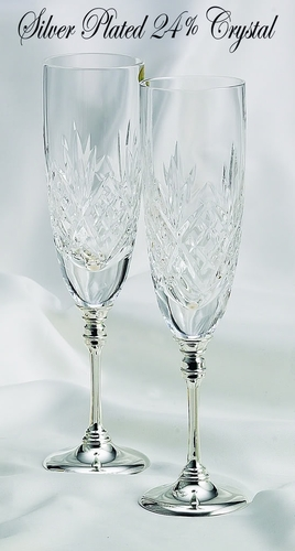 Wedding Toasting Crystal Flutes w/ Silver Stem  8713***Discontinued***