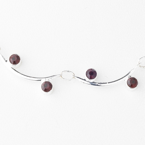 * Necklace Earring Set 319 Silver Burgundy