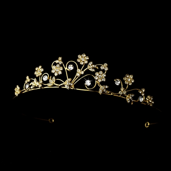 * Gold Floral Tiara Headpiece 1012