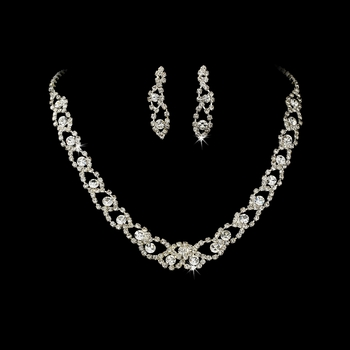 Stunning Silver Clear Rhinestone Necklace & Earring Set 355