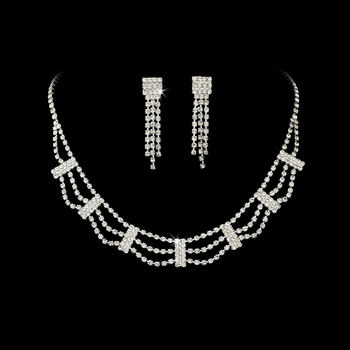 * Necklace Earring Set 364 Silver Clear