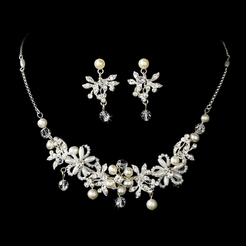 * Necklace Earring Set NE 8005 Silver Ivory