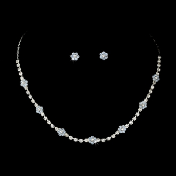 Necklace Earring Set 70155 Silver Light Blue