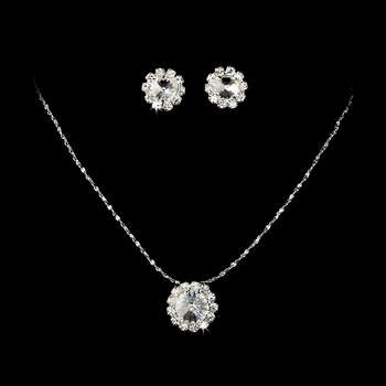 Necklace Earring Set 70249 Silver Clear