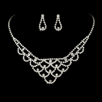 Necklace Earring Set 70918 Silver Clear **2 left**