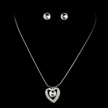 Necklace Earring Set 71625 Silver Clear