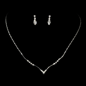 Necklace Earring Set 74501 Silver Clear