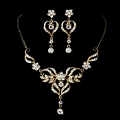 Beautiful Gold Crystal Bridal Jewelry Set NE 8322