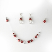 * Red Clear Illusion Jewlery Set NE 230