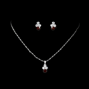 Necklace Earring Set NE 110 Silver Red