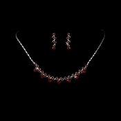 * Necklace Earring Set 324 Silver Red