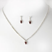 Beautiful Red Crystal Jewelry Set NE 342