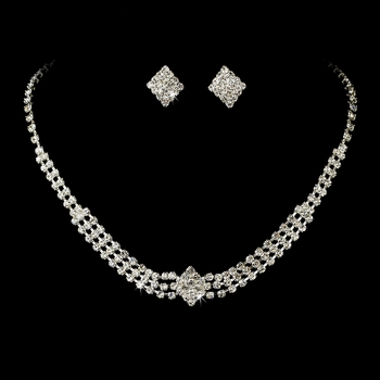 Necklace Earring Set 13041 Silver Clear