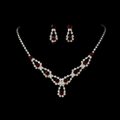 Sparkling Red Crystal Bridal Jewelry Set NE 360