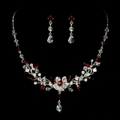Swarovski Crystal Bridal Jewelry Set NE 8003 Red