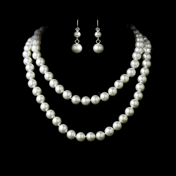 Necklace Earring Set NE 8324 White