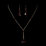 Necklace Earring Set 8124 Gold Red