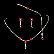 * Necklace Earring Bracelet Set 359 Silver Red
