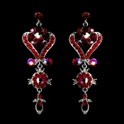 Silver Red Multi Crystal Chandelier Earrings 1031