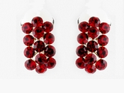 * Red Rhinestone Bridal Clip On Earring 24678