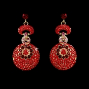 Gold Red Dangle Earring E 8291 **Discontinued**