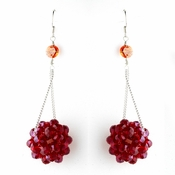* Red Beaded Ball Earring Set 8551