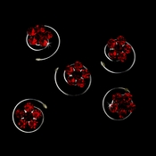 12 Delightful Silver Red & Dark Red Rhinestone Flower Twist-Ins 01
