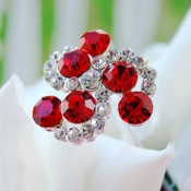 Red Crystal Swirl Bouquet Jewelry