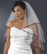 "Veil 655 Ivory - Burgundy Satin Ribbon Edge (24"" x 27"" long)"