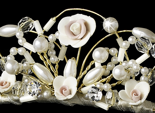 Headpiece 310 Ivory with Rum Pink