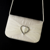* Delightful Ivory Satin Rhinestone Heart Evening Bag 80588