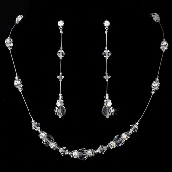 Necklace Earring Set NE 8356 Silver Clear