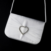 * Delightful White Satin Rhinestone Heart Evening Bag 80588