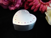 Pink Jeweled Heart Trinket Jewelry Box 3531