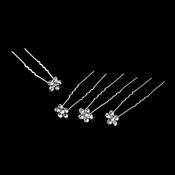 Silver and Clear Floral Hair Accents Hair Pin 8 (Set of 12)