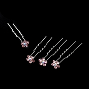 Silver and Pink  & AB Center Floral Hair Accents Hair Pin 8 (Set of 12)