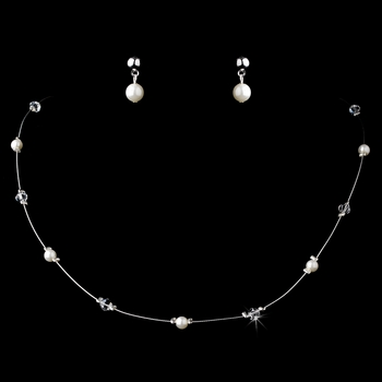 Lovely Children's Gold Ivory Pearl & Clear Crystal Bead Necklace & Earring Set 408