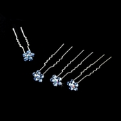 Silver and Light Blue Floral Hair Accents Hair Pin 8 (Set of 12)