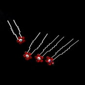 Silver and Red Floral Hair Accents Hair Pin 8 (Set of 12)