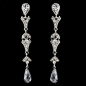 Radiant Silver Clear Crystal Dangle Earrings E 949