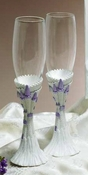 Majestic Lilac Cinderella Castle Wedding Toasting Champagne Flutes