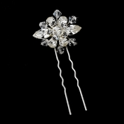 Elegant Silver Clear Rhinestone & Crystal Bead Starburst Hair Pin 8393