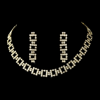Necklace Earring Set 368 Gold Clear