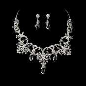 Couture Silver Clear Crystal Bridal Necklace & Earring Set 6062  **Discontinued**