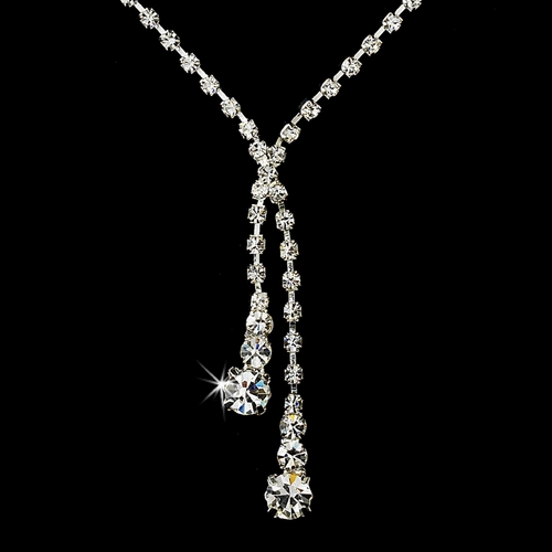 Necklace Earring Set NE 1054 Silver Clear